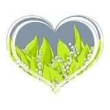 Ευώδης κρίνος της κοιλάδας στην καρδιά σε ένα άσπρο υπόβαθρο διανυσματική απεικόνιση
