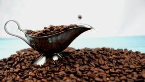 Ευώδης ψημένη πτώση φασολιών καφέ απόθεμα βίντεο