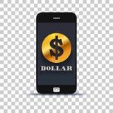 Εφαρμογή ανταλλαγής ΑΜΕΡΙΚΑΝΙΚΩΝ δολαρίων το κινητό pone που κολλιέται για σε χαρτί φωτογραφιών στοκ εικόνα