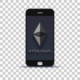 Εφαρμογή ανταλλαγής ethereum Cryptocurrency το κινητό τηλέφωνο που κολλιέται για σε χαρτί φωτογραφιών στοκ φωτογραφία