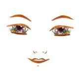 Εφαρμογή, βέβαιο πρόσωπο κοριτσιών φιαγμένο από ξηρά λουλούδια Στοκ Εικόνες