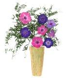 Εφαρμογή, μια ανθοδέσμη σε ένα βάζο του ξηρού πιέζοντας φωτεινού λουλουδιού Στοκ Εικόνες