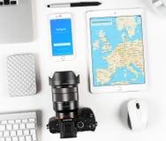Εφαρμογή μουσικής της Apple στην επίδειξη του iphone και ipad Στοκ εικόνα με δικαίωμα ελεύθερης χρήσης