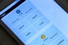Εφαρμογή συναλλαγματικής ισοτιμίας Bitcoin στοκ φωτογραφίες