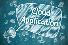 Εφαρμογή σύννεφων - απεικόνιση κινούμενων σχεδίων στον μπλε πίνακα κιμωλίας Στοκ φωτογραφία με δικαίωμα ελεύθερης χρήσης