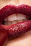 Εφαρμογή του κραγιόν στα κόκκινα χείλια στην πραγματικά στενή επάνω φωτογραφία Στοκ Εικόνα