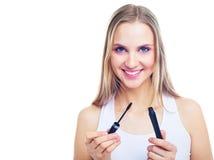 'Εφαρμογή' mascara της γυναίκας Στοκ φωτογραφία με δικαίωμα ελεύθερης χρήσης