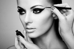 εφαρμόζει τη σκιά ματιών καλλιτεχνών makeup Στοκ Φωτογραφία