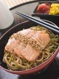 εφελκιδώδες τηγανισμένο noodles σουσάμι σολομών τουρσιών στοκ εικόνα