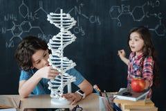Εφευρετικά παιδιά που ερευνούν το γενετικό κώδικα στο σχολείο Στοκ φωτογραφίες με δικαίωμα ελεύθερης χρήσης
