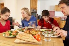 Εφηβική οικογένεια που έχει το όρισμα ταυτόχρονα τρώγοντας το μεσημεριανό γεύμα Στοκ φωτογραφίες με δικαίωμα ελεύθερης χρήσης