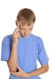 Εφηβικό άρρωστο αγόρι Στοκ Φωτογραφία