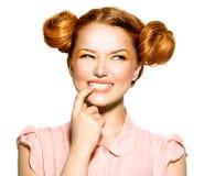 Εφηβικό πρότυπο πορτρέτο κοριτσιών ομορφιάς Στοκ Εικόνα