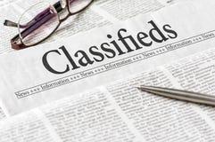 Εφημερίδα με τον τίτλο Classifieds Στοκ φωτογραφία με δικαίωμα ελεύθερης χρήσης