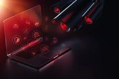 Εχθρικός υπολογιστής αναζητήσεων καμερών για τους κωδικούς πρόσβασης, τα λογικά στοιχεία και τα πιθανά backdoors Επιτήρηση Διαδικ στοκ φωτογραφία
