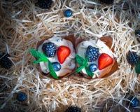 Εύγευστα, γλυκά cupcakes που διακοσμούνται με την κρέμα, κρέμα σοκολάτας, κανέλα, κακάο διακοσμημένος με τα φρέσκα, φυσικά, οργαν στοκ εικόνα