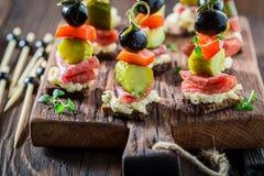 Εύγευστα διάφορα τρόφιμα δάχτυλων με τα λαχανικά και τα χορτάρια για το πρόχειρο φαγητό Στοκ Φωτογραφίες