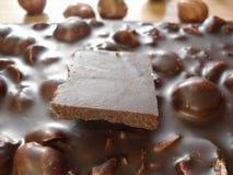 Εύγευστα και υγιή γλυκά Σοκολάτα για το αδυνάτισμα Σοκολάτα με τα φουντούκια στοκ εικόνες