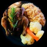 Εύγευστα κατ' οίκον μαγειρευμένα λαχανικά ρυζιού χορταριών κοτόπουλου Στοκ Φωτογραφίες
