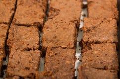 Εύγευστα καφετιά χρωματισμένα παραταγμένα, τετραγωνικά κομμάτια σοκολάτας brownies όπως βλέπω? άνωθεν γωνία, κόπτης κέικ μετάλλων Στοκ φωτογραφίες με δικαίωμα ελεύθερης χρήσης