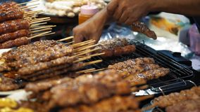 Εύγευστα κοτόπουλο και χοιρινό κρέας μαγείρων αρχιμαγείρων kebabs στην καυτή σχάρα, σε αργή κίνηση Μεγάλα πιάτα με bbq κρέατος κα απόθεμα βίντεο