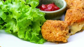 Εύγευστα κυλινδρικά croquettes και φρέσκα λαχανικά σε ένα άσπρο πιάτο φιλμ μικρού μήκους