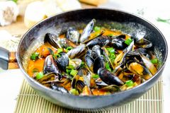 Εύγευστα μύδια θαλασσινών με την κόκκινη σάλτσα και πράσινα κρεμμύδια σε ένα τηγάνι στοκ εικόνες