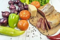 Εύγευστα ομάδα, κρέας, chesse και λαχανικά Στοκ Φωτογραφίες