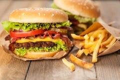 Εύγευστα χάμπουργκερ και τηγανητά Στοκ Φωτογραφίες