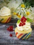 Εύγευστα cupcakes με τα μούρα Στοκ Εικόνα