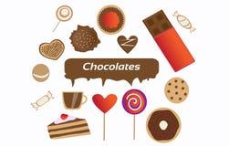 Εύγευστες, αξιοσημείωτες & γλυκές σοκολάτες ελεύθερη απεικόνιση δικαιώματος