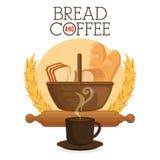 Εύγευστες ψωμιά και ετικέτα καφέ Στοκ εικόνα με δικαίωμα ελεύθερης χρήσης