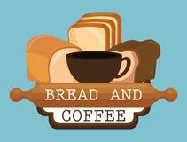Εύγευστες ψωμιά και ετικέτα καφέ Στοκ φωτογραφία με δικαίωμα ελεύθερης χρήσης
