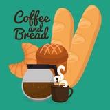 Εύγευστες ψωμιά και ετικέτα καφέ Στοκ εικόνες με δικαίωμα ελεύθερης χρήσης