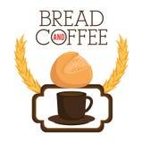 Εύγευστη ετικέτα ψωμιού και καφέ Στοκ Εικόνες