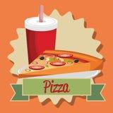 Εύγευστη ιταλική μερίδα πιτσών με τη σόδα διανυσματική απεικόνιση