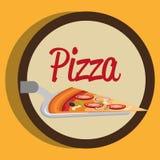 Εύγευστη ιταλική μερίδα πιτσών spatula απεικόνιση αποθεμάτων