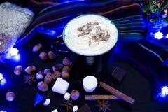 Εύγευστη καυτή σοκολάτα με τα συστατικά στην επίδειξη Στοκ Εικόνες