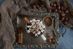 Εύγευστη καυτή σοκολάτα με marshmallows, τα καρύδια και την κανέλα στον ασημένιο δίσκο, εκλεκτική εστίαση Στοκ Φωτογραφίες