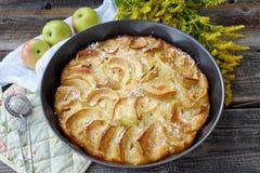Εύγευστη πίτα της Apple με την κονιοποιημένα ζάχαρη και τα φρούτα Στοκ φωτογραφία με δικαίωμα ελεύθερης χρήσης