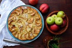 Εύγευστη πίτα της Apple με την κονιοποιημένα ζάχαρη και τα φρούτα Στοκ Εικόνες