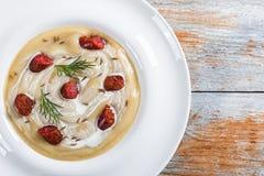 Εύγευστη πικάντικη σούπα μπύρας και κρέμας με το λουκάνικο Kielbasa, άνηθος Στοκ εικόνες με δικαίωμα ελεύθερης χρήσης