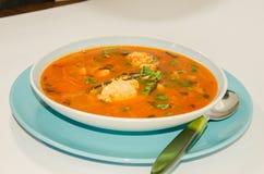 Εύγευστη σούπα με τα μύδια στοκ εικόνες