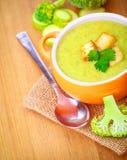 Εύγευστη σούπα μπρόκολου και κολοκυθιών Στοκ Εικόνα