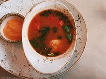 εύγευστη σούπα - που τρώνε έξω και υγιής ορισμένη συνταγές έννοια στοκ φωτογραφία