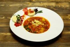 Εύγευστη σούπα minestrone με το κρέας Στοκ φωτογραφίες με δικαίωμα ελεύθερης χρήσης