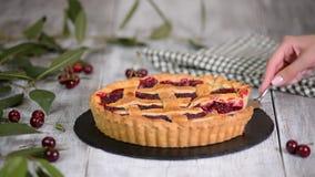 Εύγευστη σπιτική πίτα κερασιών με μια λεπιοειδή κρούστα απόθεμα βίντεο