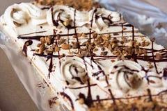 Εύγευστη στενή επάνω εκλεκτική εστίαση κέικ κρέμας σοκολάτας Στοκ Εικόνες