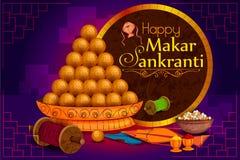 Εύγευστος γλυκός και ζωηρόχρωμος ικτίνος για το ινδικό φεστιβάλ, Makar Sankranti διανυσματική απεικόνιση