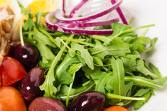 Εύγευστος η σαλάτα με το arugula και τις ελιές Στοκ Εικόνα